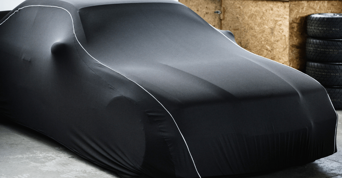 Car with black cover on