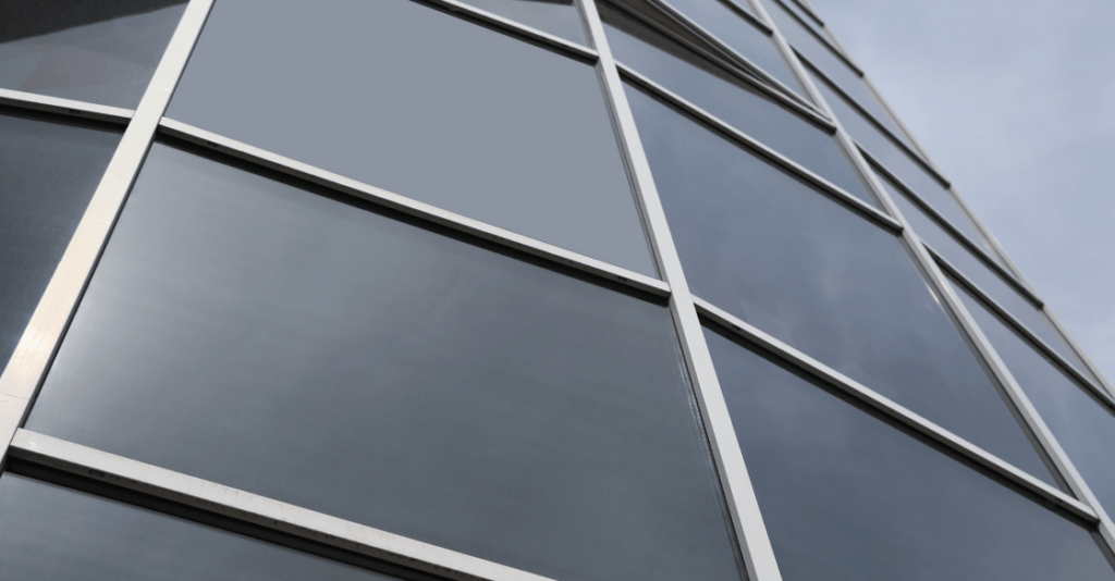 Commercial building with window tinting.