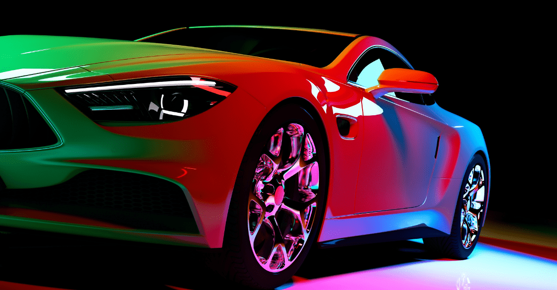 Sports car with a multi-color glossy car wrap.